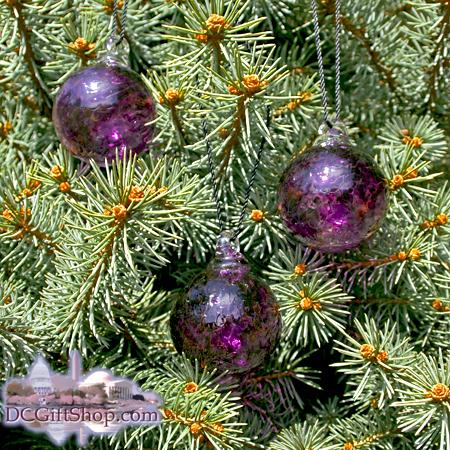 "Ornaments - Glass - Purple Haze Crystal 2"" Ball (set of 3)"