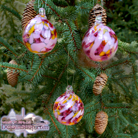 "Ornaments - Glass - Sakura Peace Crystal 2"" Ball (set of 3)"