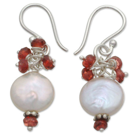 Gifts - Cherry Blossom Pearl and Garnet Earrings