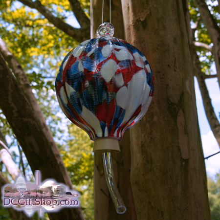 Gifts - Glass - Red, White, & Blue Bird Feeder