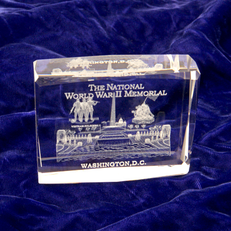 Gifts - Desk Accessories - WWII 3D Glass Etched Paperweight