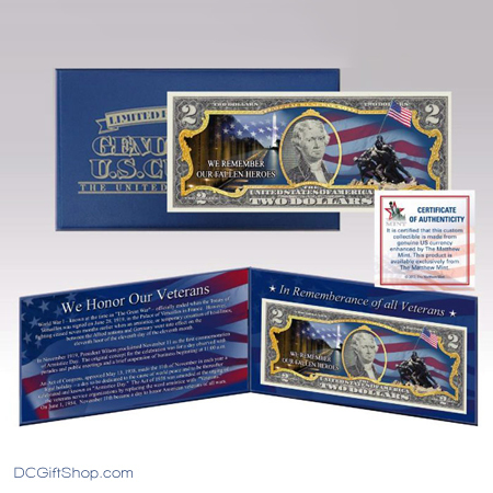Gifts - Money - Honor Veteran Commemorative Two Dollar Currency
