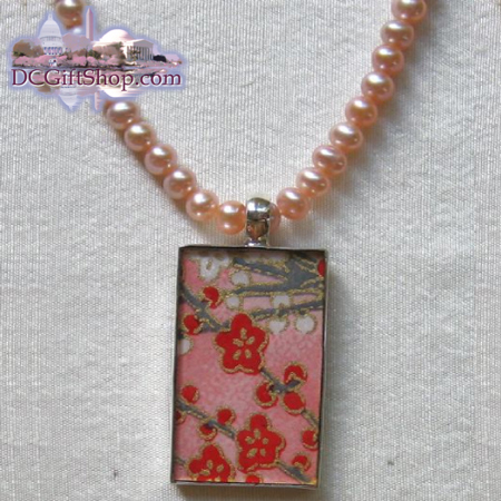 Gifts - Cherry Blossoms - Japanese Washi Paper Necklace/Sterling Silver