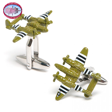 Gifts - Army Green P38 Lightning Aircraft Cufflinks