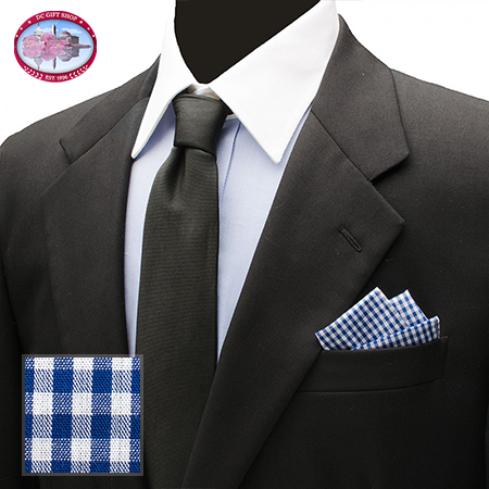 Gifts - Blue Gingham Cotton Pocket Square