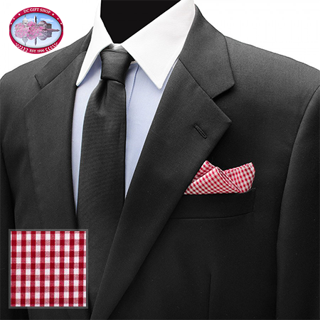 Gifts - Red Gingham Cotton Pocket Square