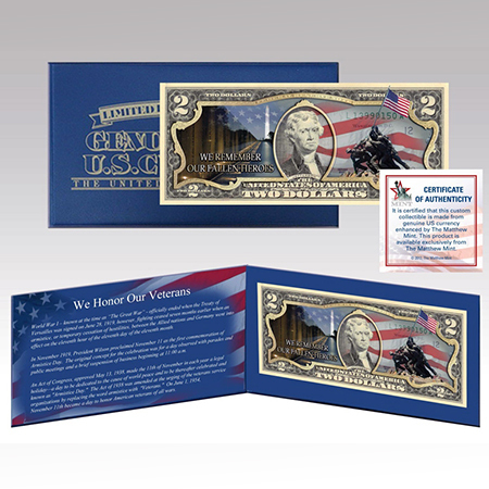 Gifts - Money - Commerative Veterans Day $2 Bill