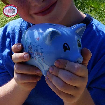 Blue Washington DC Piggy Bank