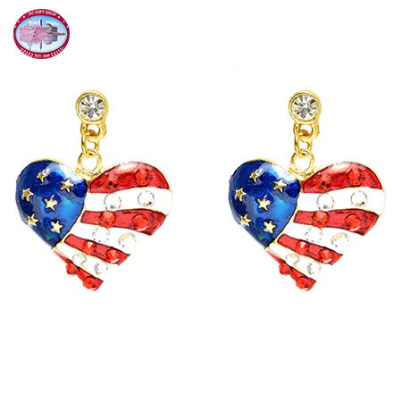 Gold Tone Red, White and Blue Heart Dangle Earrings
