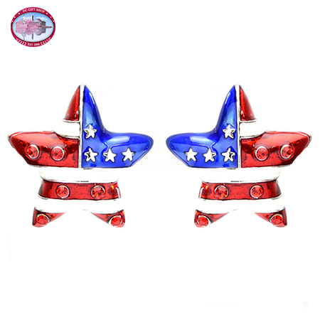 Silver Tone Red, White and Blue Star Post Earrings