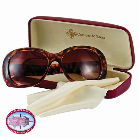 Kennedy Tortoise-Look W/Greek Key Accent Sunglasses