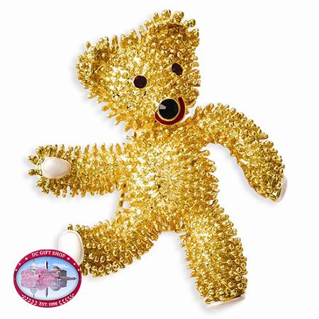 Kennedy Teddy Bear W/Swarovski Crystals Brooch