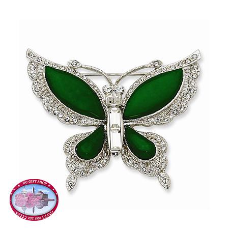 Kennedy Silver-Tone Swarovski Crystal Simulated Jade Butterfly Pin