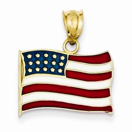 14k Enameled American Flag Pendant
