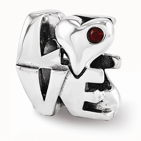 Sterling Silver Reflections Swarovski LOVE Bead
