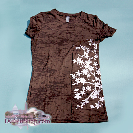 Gifts - Cherry Blossoms - Ladies Fitted Cherry Branch Burnout T-Shirt