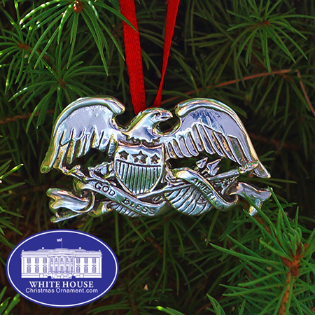 Sterling Silver Eagle Flag Ornament