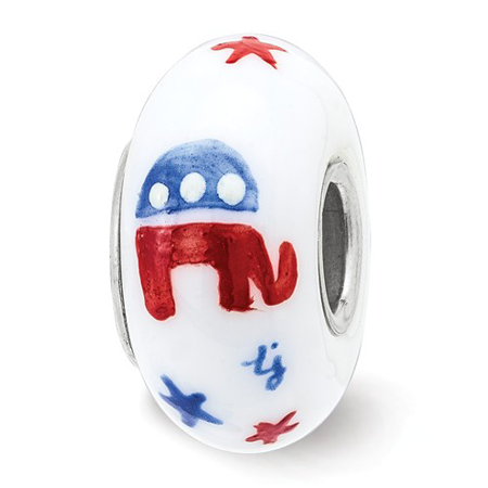 Sterling Silver Reflections Hand Painted Patriotic Republican Glass Bead