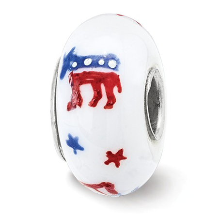 Sterling Silver Reflections Hand Painted Patriotic Democrat Glass Bead