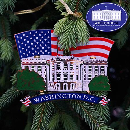 White House American Flag Ornament