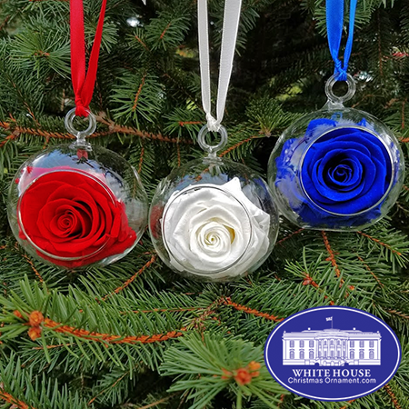 Red White and Blue Rose Garden Ornament Set
