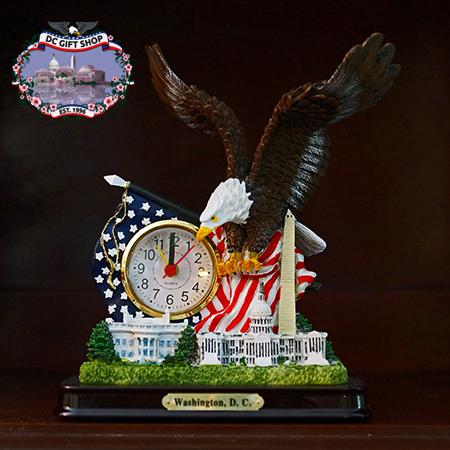 Great Eagle American Flag Clock