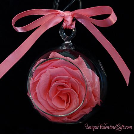 Pink Blush Rose Flower Ornament