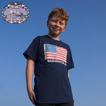 American Flag T Shirt - Navy Blue