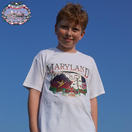Maryland State Map T Shirt - White