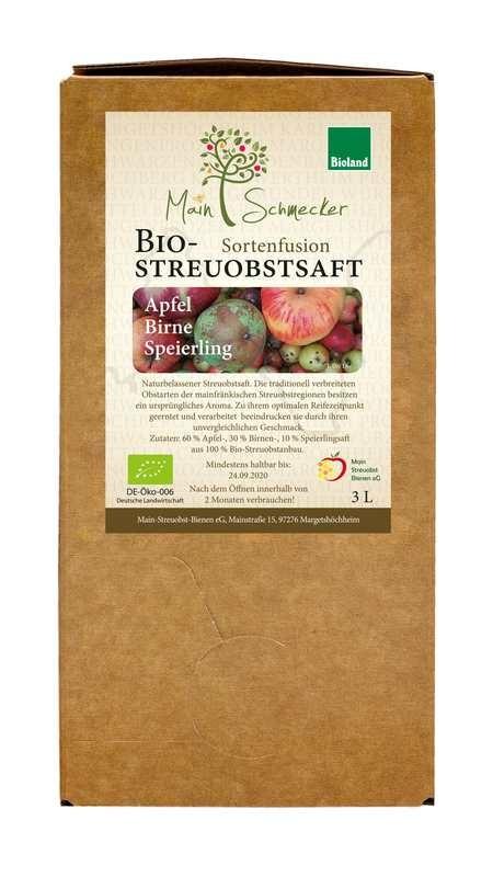 Apfel-Birne-Speierling Mischsaft in der 3 Liter Box (Bioland)