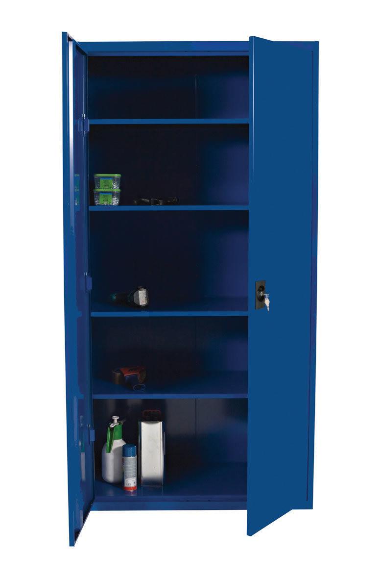 Låsbart stålskap 200 x 100 x 50, farge grå eller blå