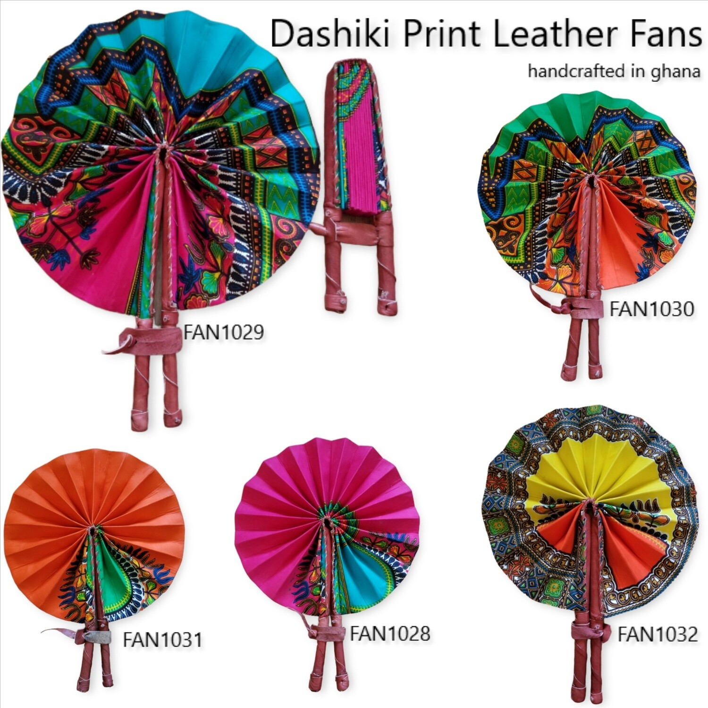 Dashiki Print Leather Fans