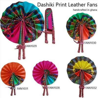 Dashiki Print Leather Fans