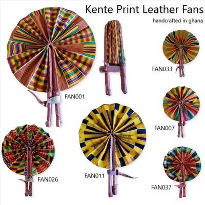 Kente Print Leather Fans