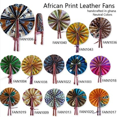 African Print Leather Fans (neutral colors)