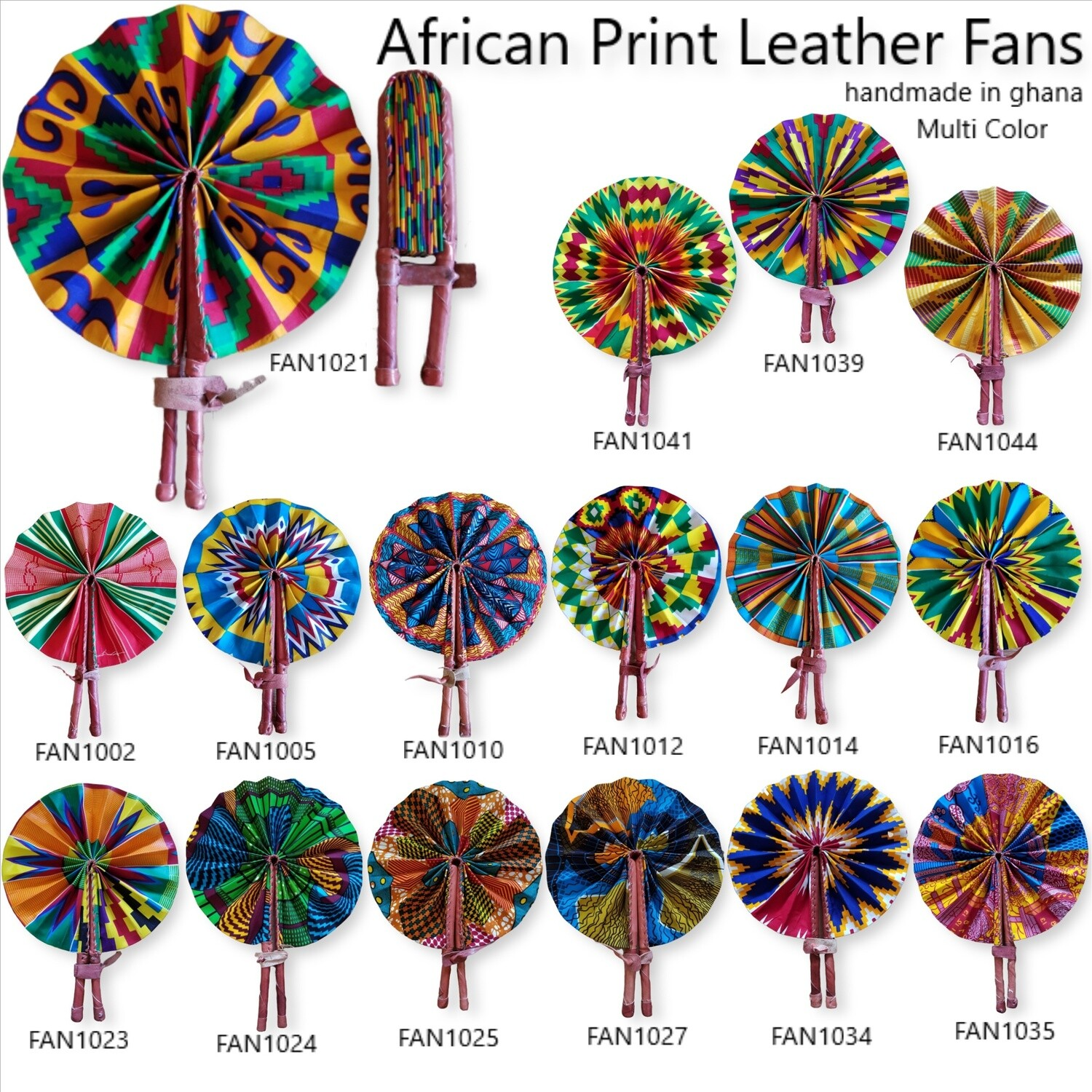 Multi Color African Print Leather Fans