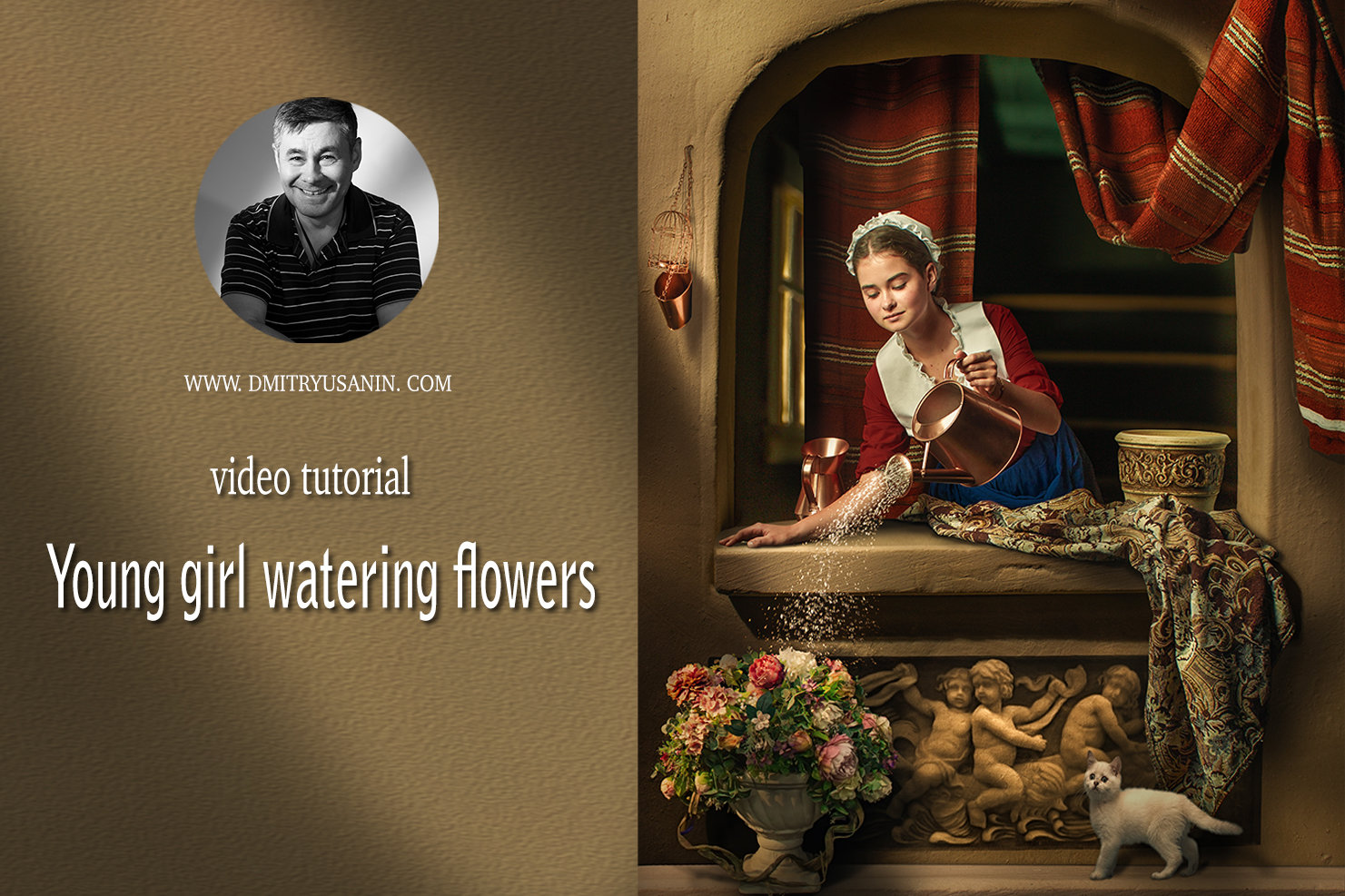 "Video lesson ""Young Girl watering flowers"""