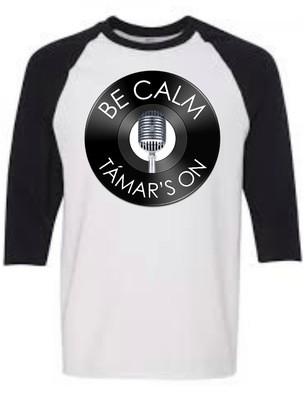 Be Calm, Tamars On T-Shirt (Black Raglan)