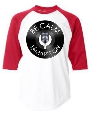 Be Calm, Tamars On T-Shirt (Red Raglan)