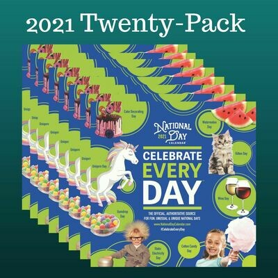 20-Pack | 2021 Official Celebrate Every Day® National Day Wall Calendar