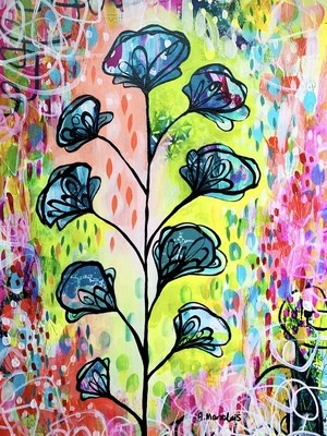 Delphiniums - Original painting on paper (11.6