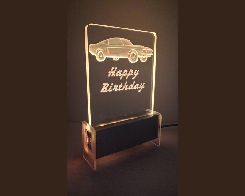 Happy Birthday Car Mustang QT 3D Light