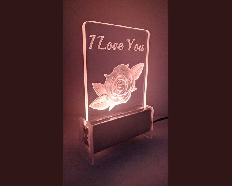 I Love You Rose QT 3D Light