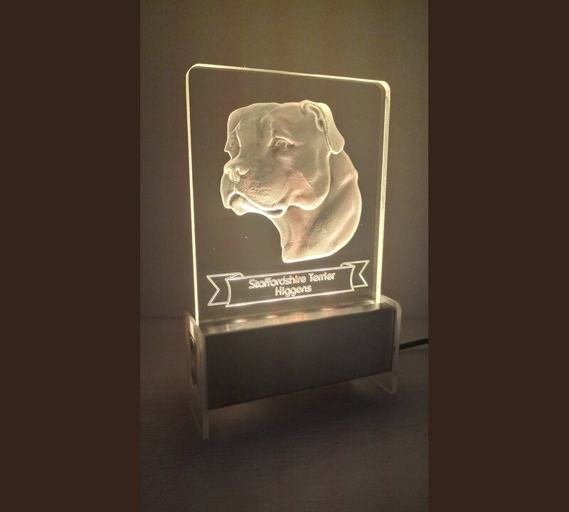 Staffordshire Terrier Dog QT 3D Light