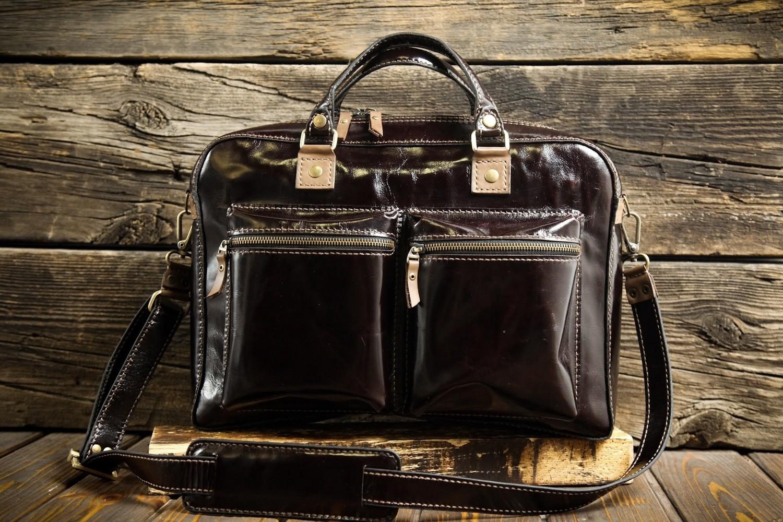 Коричневый портфель из натуральной кожи