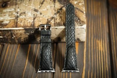 Черный кожаный ремешок для Apple Watch из кожи питона
