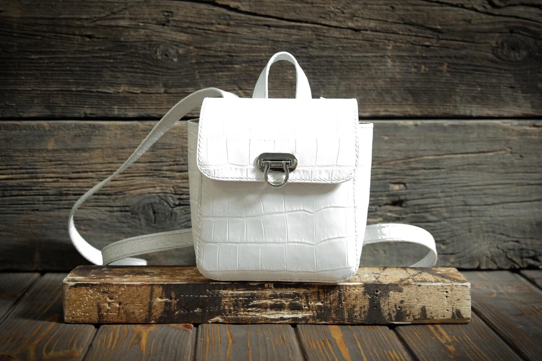 Белоснежный рюкзак из натуральной кожи