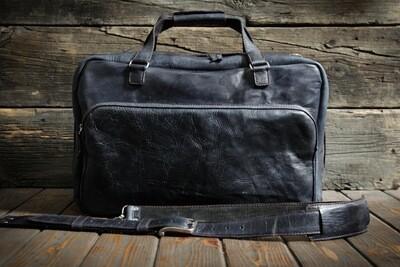 Дорожная сумка из натуральной кожи цвета ночного неба