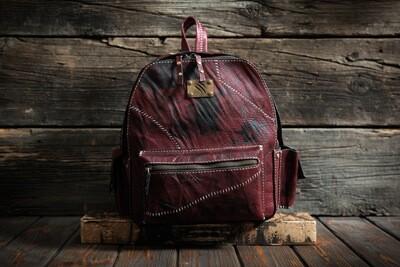 Рюкзак гранатового цвета из сыромятной кожи