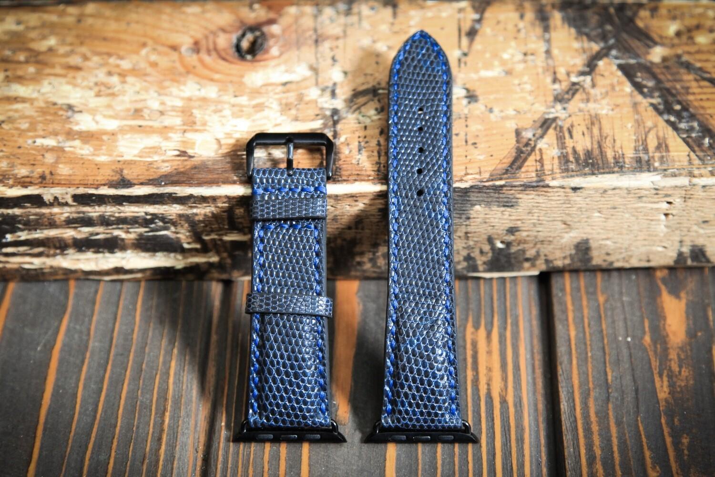 Синий кожаный ремешок для Apple Watch из кожи ящерицы